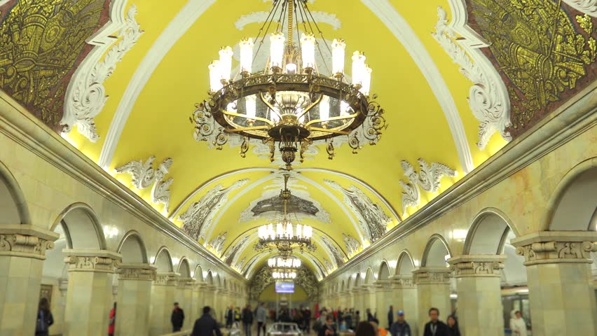 MOSCOW, RUSSIA - September 25: Interior of Moscow metro station Komsomolskaya. Soviet architecture, landmark of Russia. Steadicam shot. No identifiable human faces.