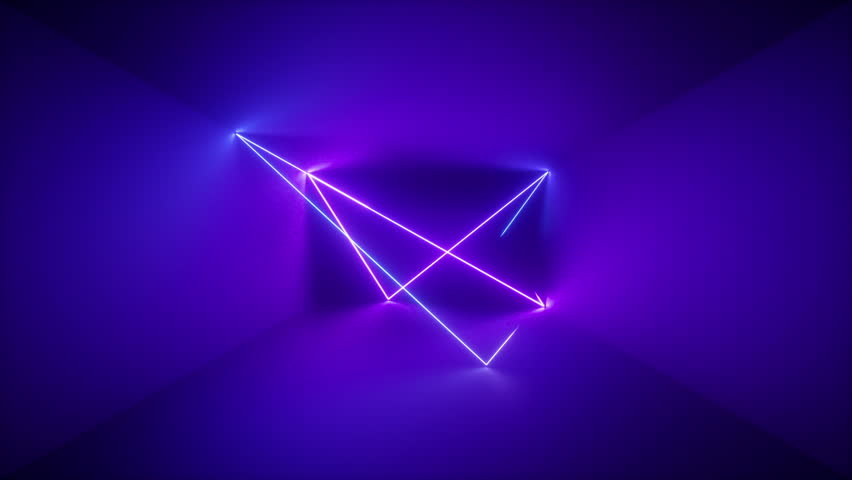 3d render, abstract background, neon rays inside dark box, tunnel, corridor, glowing lines, fluorescent ultraviolet light, blue red pink purple spectrum, looped, seamless animation #1018379221