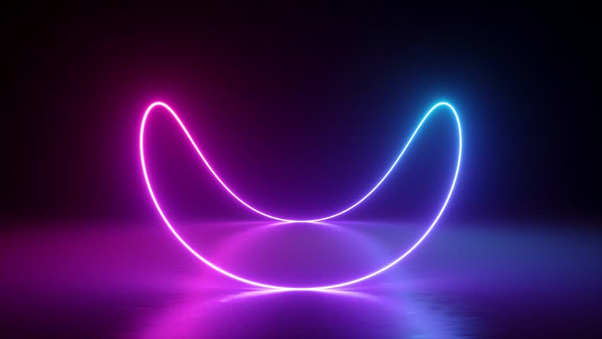 abstract background, neon glowing infinity sign, rotating, spinning inside box, fluorescent, ultraviolet spectrum light, closed room, reflections