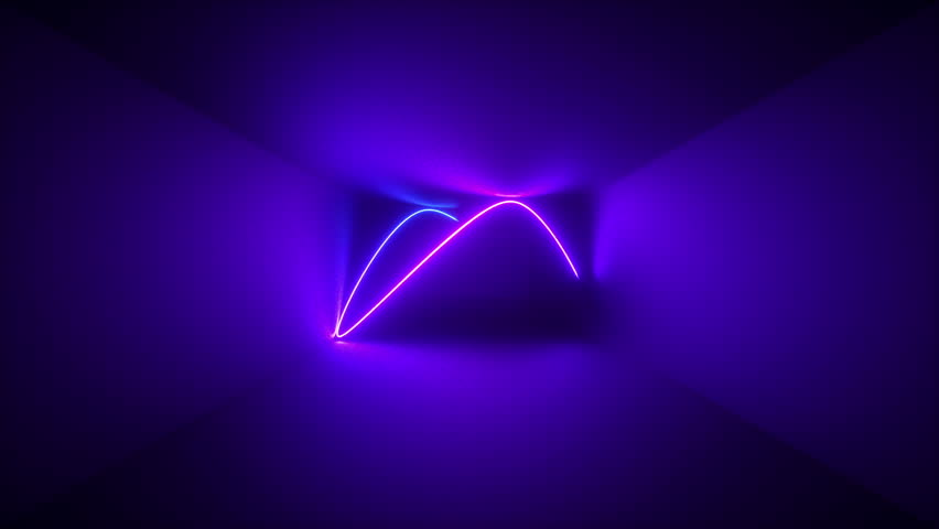 3d render, abstract background, neon rays inside dark box, tunnel, corridor, glowing lines, fluorescent ultraviolet light, blue red pink purple spectrum