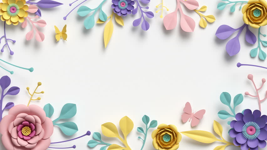 paper flowers growing, appearing, botanical background, decorative frame, blank space for text, paper craft, diy project, intro, isolated on white background