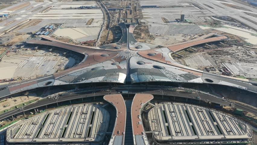 Beijing,China - Oct,2,2018:Aerial view of Beijing daxing international airport construction site.   Shutterstock HD Video #1018390198