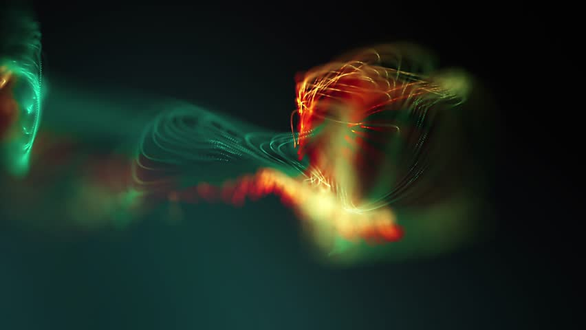 Abstract loopable colorful cg motion waving dast texture with glowing defocused particles. Cyber or technology digital landscape background.  | Shutterstock HD Video #1018402222