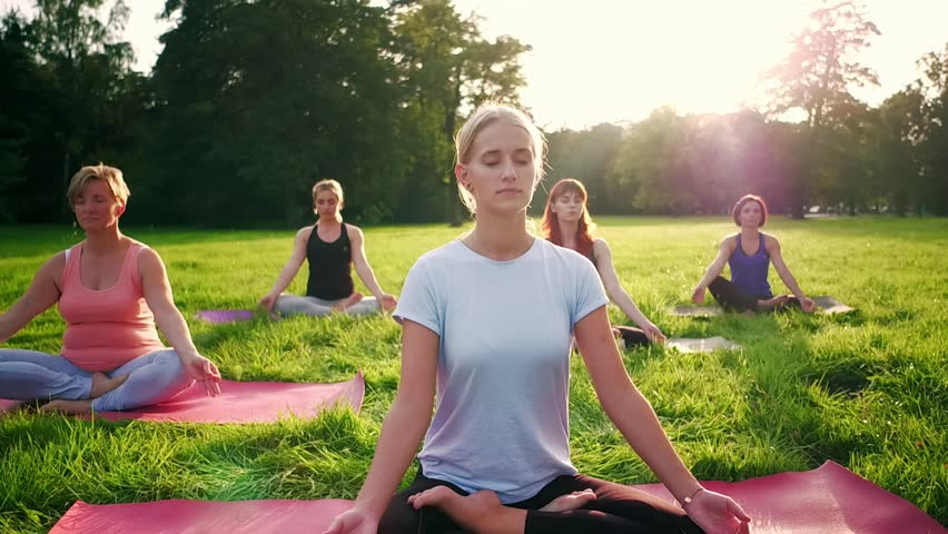 Yoga in the park, group of mixed age women practicing yoga and meditating while sunset | Shutterstock HD Video #1018414051