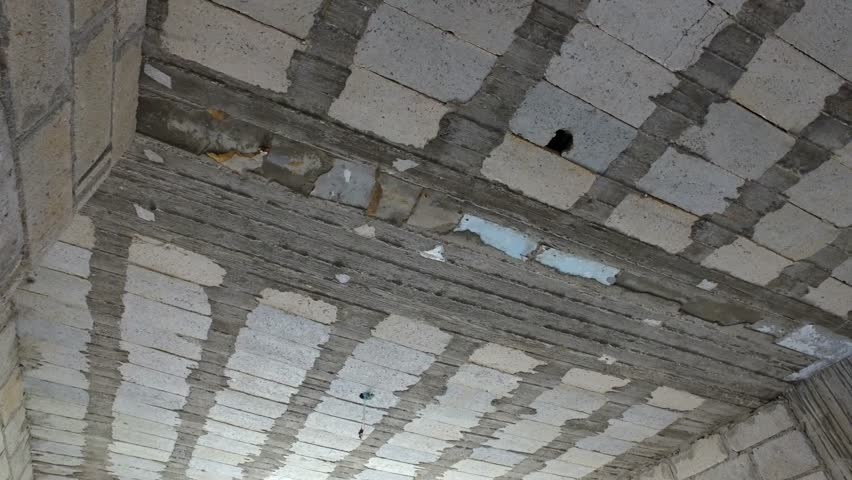 Concrete Ceiling In A House Under Construction Repair The