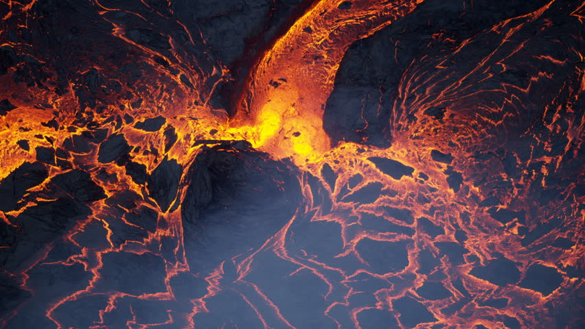 Aerial view of volcanic lava a river of natural erupting red hot liquid emanating from within earths mantle Kilauea Hawaii USA RED WEAPON | Shutterstock HD Video #1018425754