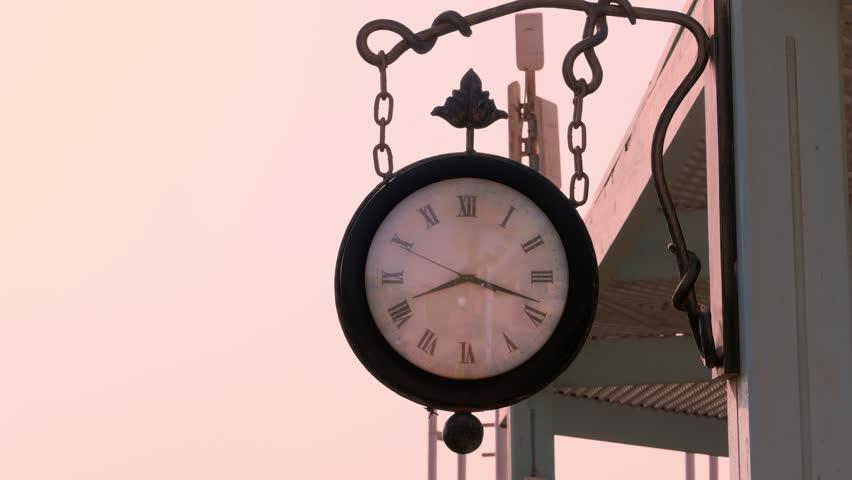 Big Street Round Clock Hanging Stock, Big Round Clock