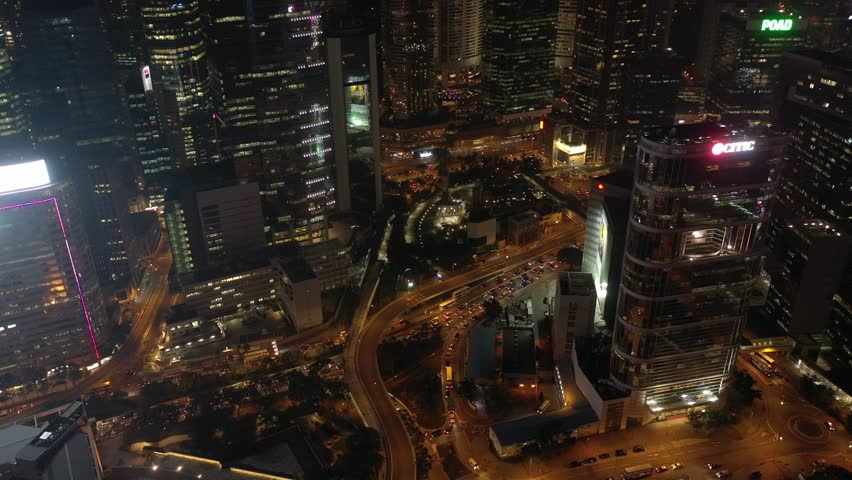 Hong Kong - October 25, 2018 :  4K footage of Hong Kong Central District night scenes from aerial view. | Shutterstock HD Video #1018462300