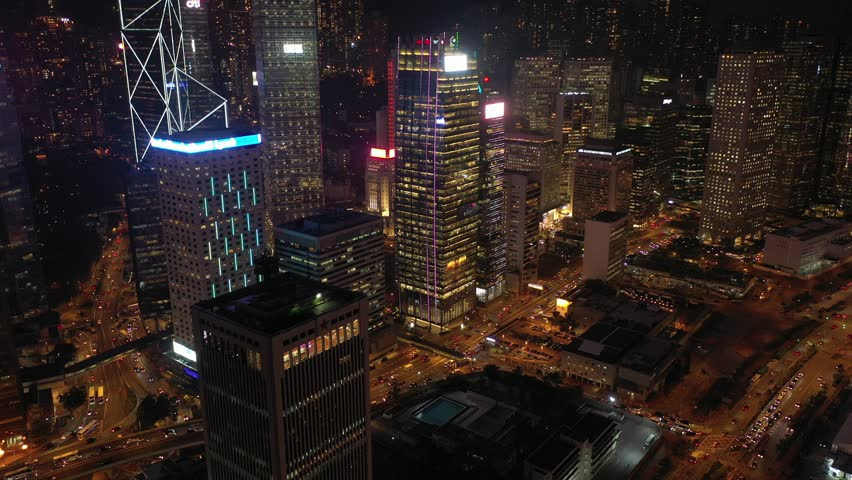 Hong Kong - October 25, 2018 :  4K footage of Hong Kong Central District night scenes from aerial view. | Shutterstock HD Video #1018462303