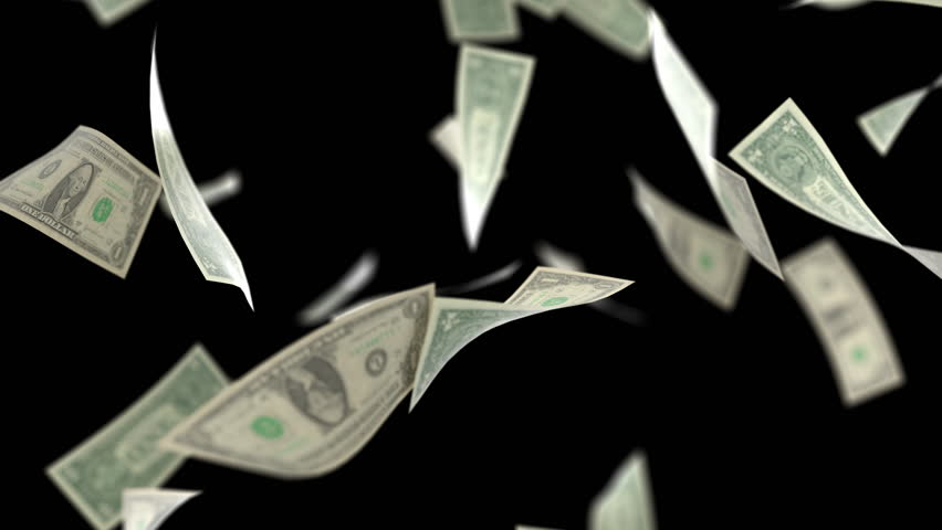 US Dollars Falling on Black with Luma Matte 4Kcloseup | Shutterstock HD Video #1018468960