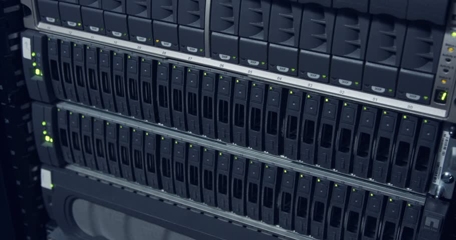 Large computer server room in a data center | Shutterstock HD Video #1018480297