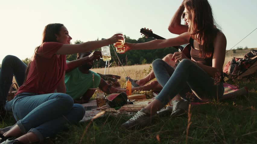 People cheering with drinks at outdoor picnic party. People's hands raising toast with glasses of beer, enjoying outdoor picnic in nature. Man playing the guitar. Summertime, chilling. True friends