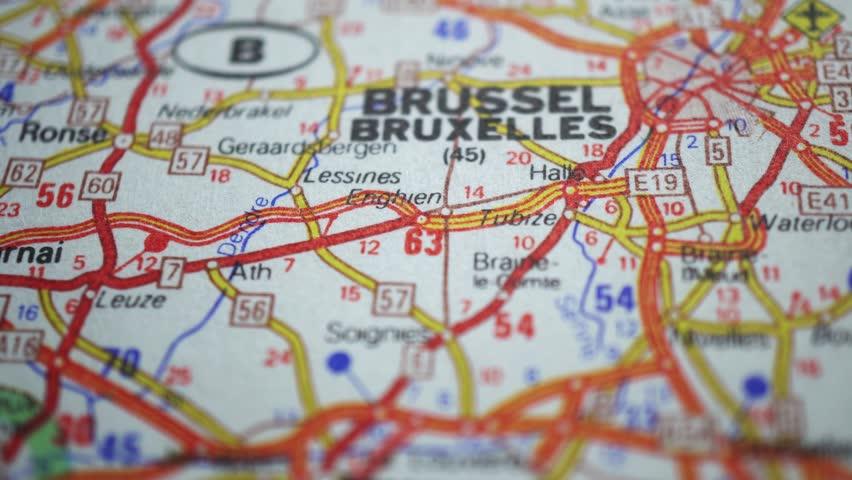 Brussel On Europe Map, Dolly Shot, Berdichev, Ukraine, 26 October 2018 #1018482979