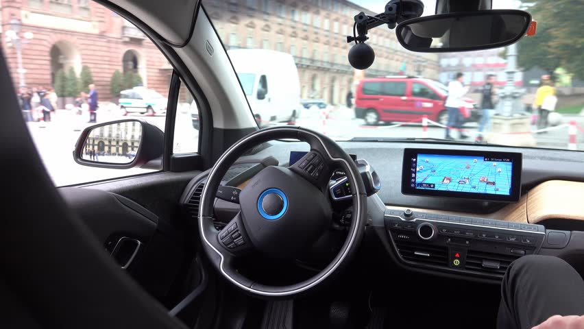 Turin, Italy - October 2018: self-driving car testing test in the city