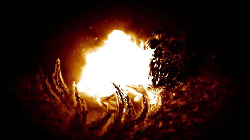 Bones in fire. Evil burning skull. 2D animation horror fantasy genre. Creepy animated backdrop movie. Spooky zombie apocalypse. Scary animated short film. Motion graphics for VJ loops and music clips. Royalty-Free Stock Footage #1018527784
