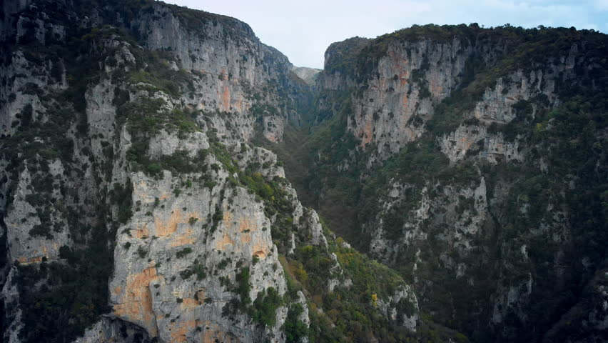 Beautiful dramatic nature, drone aerial motion view on steep slopes of the famous Vikos Gorge | Shutterstock HD Video #1018528162