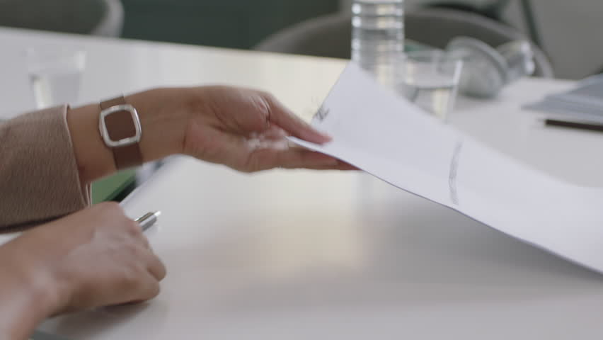 Professional business people signing contract deal writing signature on corporate paperwork enjoying successful partnership deal client shaking hands in office boardroom meeting close up hands | Shutterstock HD Video #1018535887