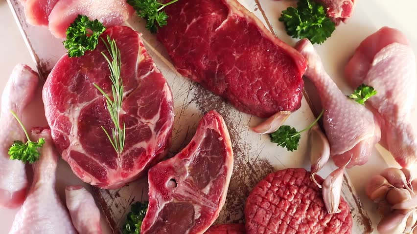 Different types of raw meat