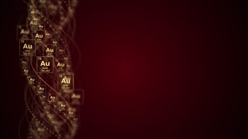 GOLD Chemical Symbol, AU, Period Table, Animation, Background, Rendering, Loop, 4k    Shutterstock HD Video #1018553893