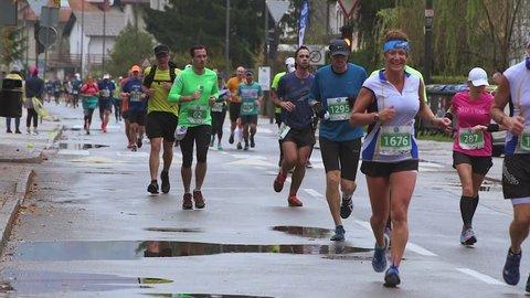 LJUBLJANA, SLOVENIA - OCTOBER 28, 2018: Volkswagen 23rd Ljubljana Marathon on October 28, 2018, Slovenia, HD