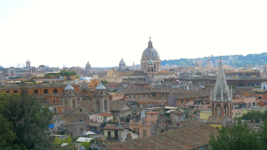 Panoramic View Of Historic Center Rome, Italy | Shutterstock HD Video #1018573624