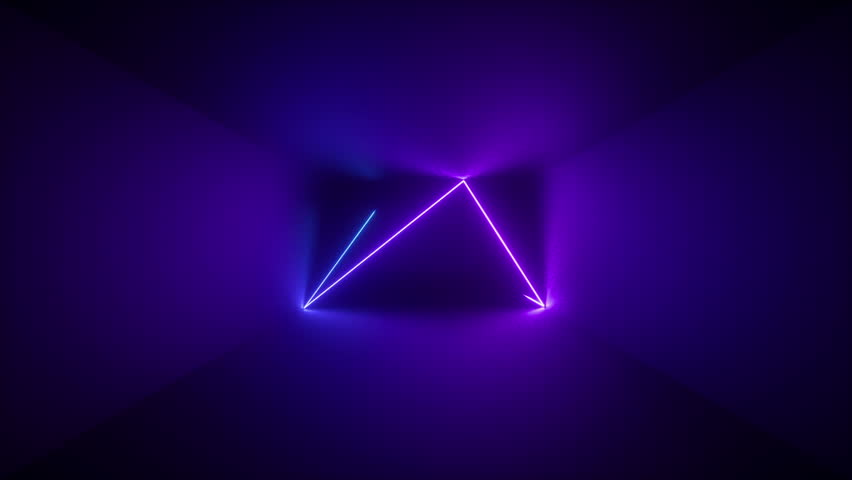 3d render, abstract background, neon rays inside dark box, tunnel, corridor, glowing lines, fluorescent ultraviolet light, blue red pink purple spectrum, stroboscope, looped, seamless animation