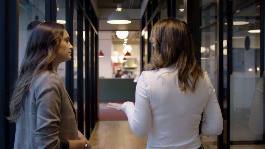 Young Business Professionals Talk And Walk Down Corridor Of Modern Office Space | Shutterstock HD Video #1018579597