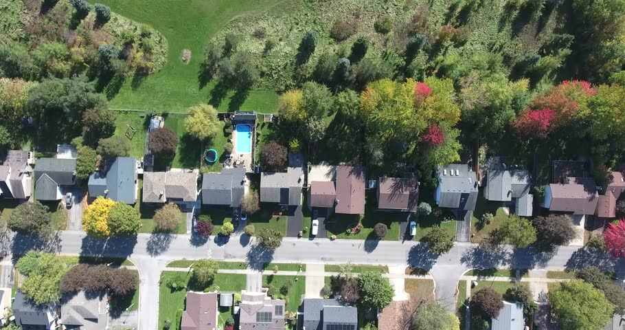 Flying Over Houses Into Park Aerial   Shutterstock HD Video #1018582915