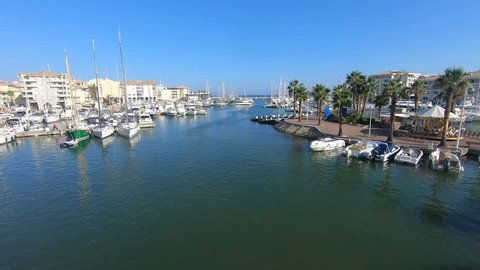 Frejus, France - August 20 2018: The marina in Frejus, French Riviera, France