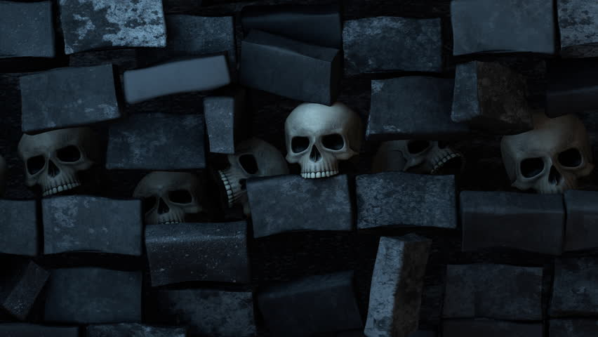 Wall of Skulls Pull Back. animation starting on a close up of a skull and pulling back to reveal more skulls on the dark wall | Shutterstock HD Video #1018615162