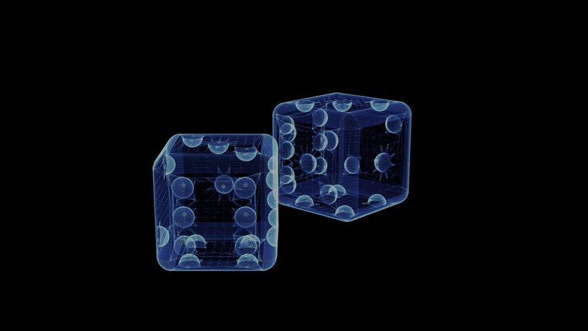 Hologram of rotating dices. 3D animation of playing cubes on a black background with a seamless loop