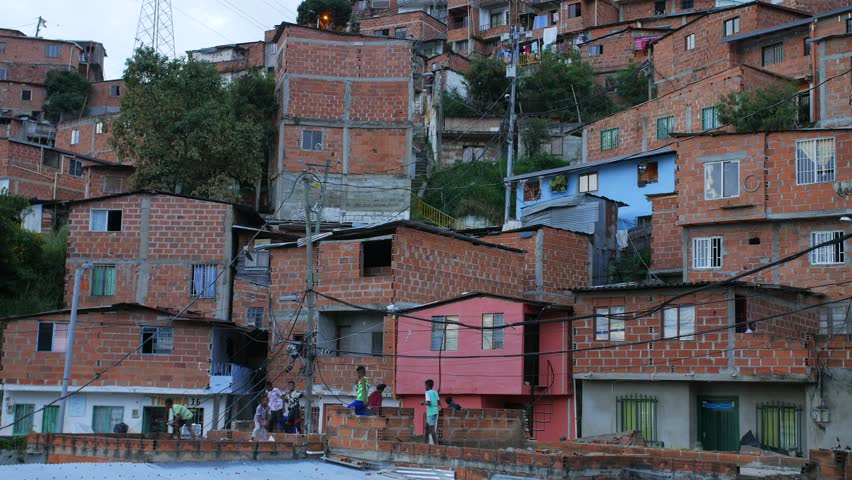 Medellin Colombia, October 26/2018. Children playing in neighborhood