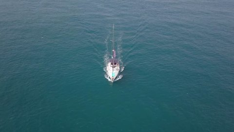 Sailing Yacht at high speed at The Mediterranean Sea - Aerial footage