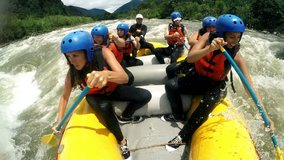 Group Of Adult Women'S Screaming And Yelling While Whitewater Rafting Clip With Audio