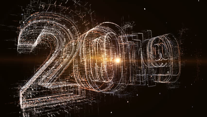 Computer generated 3D: New year 2019 greeting glowing text number and  particles animation   Shutterstock HD Video #1018667674