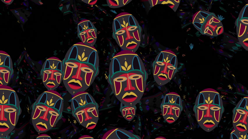 Strobing Tribal Masks Pattern Backgroundloop animation for films about traditional African culture and symbols, LED screens installations, projection and video mapping, light show, performance, fashio