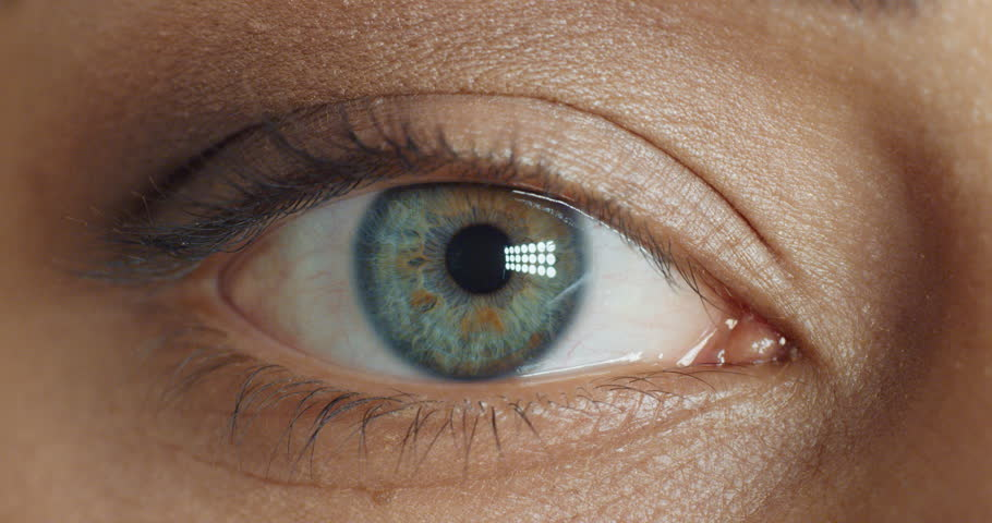 Close up macro eye hallucinating intense drug addiction with light flashing experiencing adrenaline rush | Shutterstock HD Video #1018690588