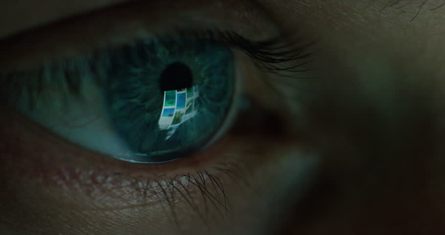 Close up macro eye screen reflecting on iris young man browsing online at night | Shutterstock HD Video #1018691587