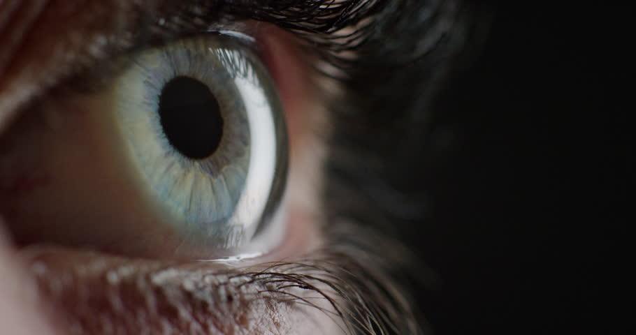 Close up macro eye opening human iris natural beauty   Shutterstock HD Video #1018711642