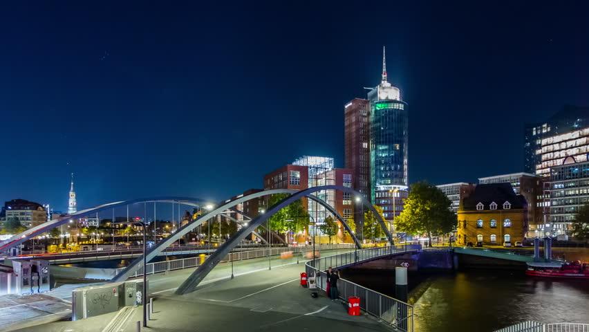 Hyperlapse video of Hamburg Speicherstadt and Hafencity district in Hamburg, Germany, Timelapse view.