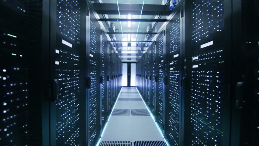 Cinemagraph: Activating Data Center with Server Racks Full of Blinking LED Lights.