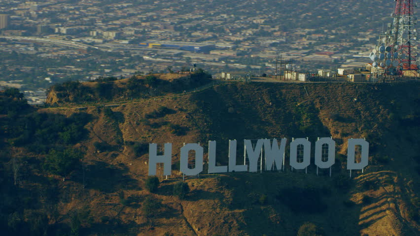 Los Angeles, California CIRCA 2018. Aerial view of the Hollywood sign, Los Angeles California with bright day lighting. Shot on 4k RED camera.