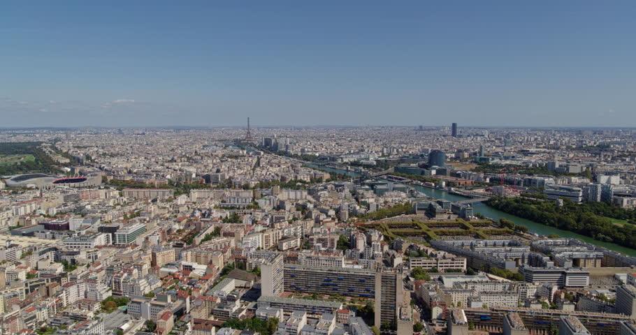 France Paris Aerial Flying above Boulogne-Billancourt and Republique-Point-du-Jour with stadium view 8/18