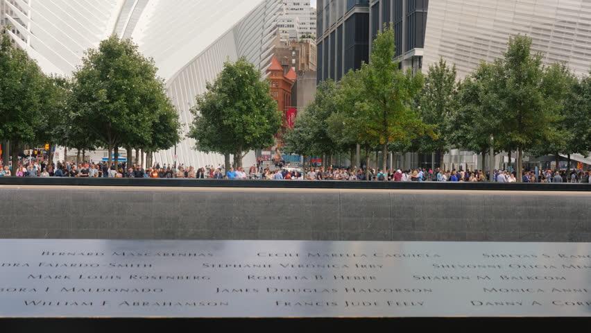 New York, USA, September, 2018: Reflecting Pool at New Yorks 9-11 Memorial