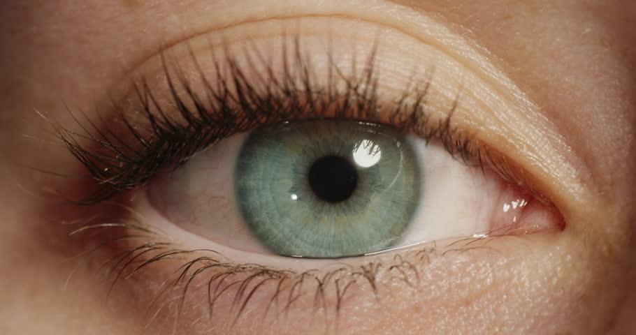 Close up macro eye opening beautiful blue iris natural beauty | Shutterstock HD Video #1018745044