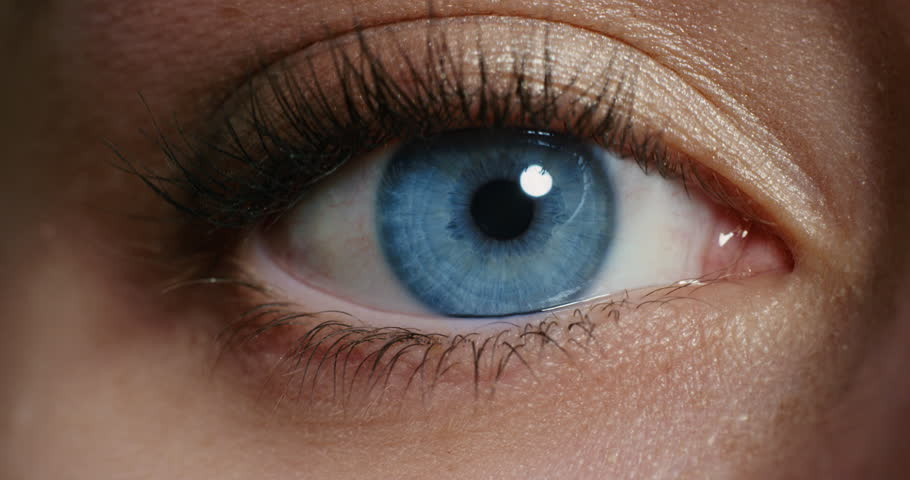 Close up macro blue eye opening human iris natural beauty | Shutterstock HD Video #1018746619