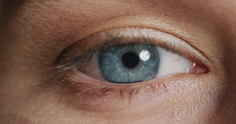 Macro beauty human eye opening blinking beautiful blue iris close up | Shutterstock HD Video #1018746907