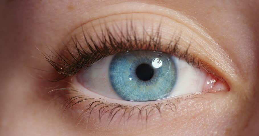 Close up beautiful blue eye opening human iris macro natural beauty | Shutterstock HD Video #1018748470