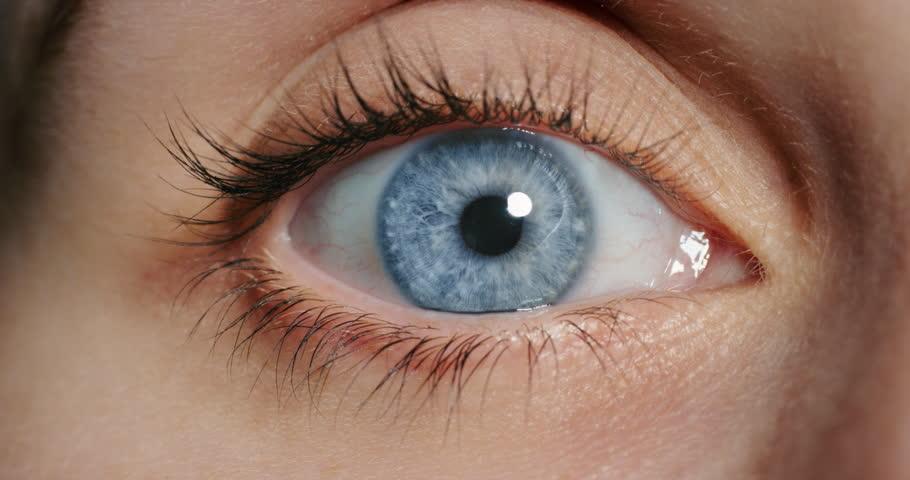 Close up beautiful blue eye opening human iris macro natural beauty | Shutterstock HD Video #1018748527