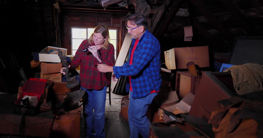 A hypothetical scene of two antique hunters picking through boxes in the attic of an old abandoned home.     Shutterstock HD Video #1018751719